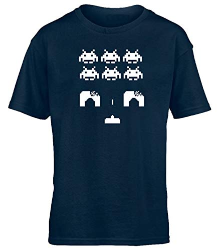 Children's Space Invaders T-shirt by Hippo Warehouse, choice of colours, ages 3 to 13 years