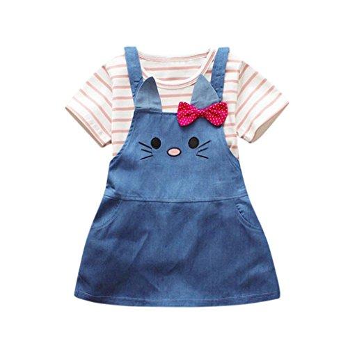BeautyTop Kleidung Set Mädchen Baby Mädchen Sommer Kleidung Set Kleidung Baby Mädchen Kleiderset 2Pcs/Set Baby Streifen Kurzarm T-Shirt Bluse +Süße Katze Jeans-Kleid Outfit (#1, 0-6 Monate)