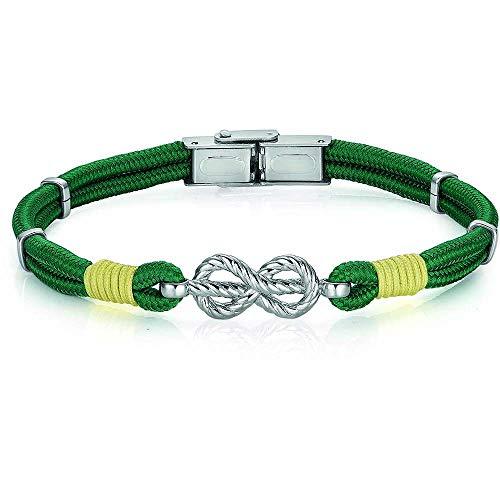 Pulsera de hombre estilo marinero cuerda verde nudo marinero acero BA1007