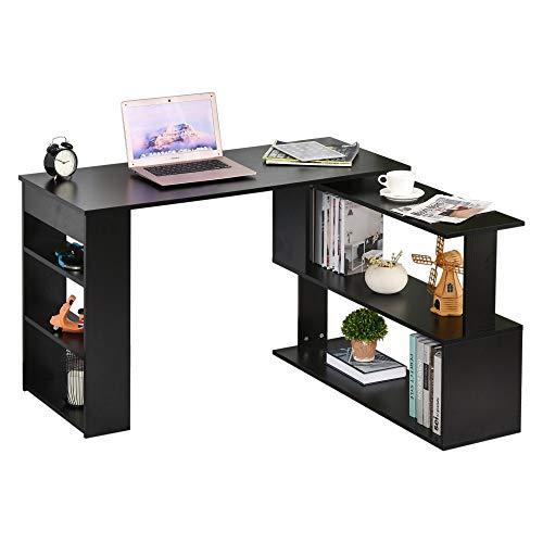 HOMCOM 360° Rotating Home Office Desk L Shaped Corner Computer Desk with Storage Shelves, Writing Table Workstation, Black