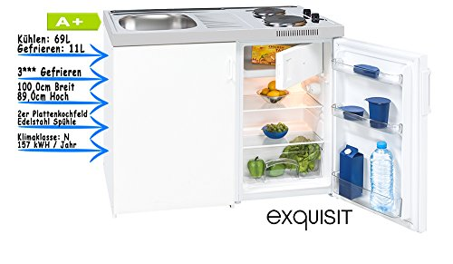 exqUISIT Miniküche Küche Kompakt Klein Küche Küchenblock EEK : A+ Kühlraum: 80 L
