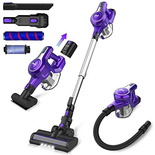 INSE Cordless Vacuum Cleaner, 23KPa Powerful Suction Stick Vacuum, Up to 45min Runtime Rechargeable 2500mAh Battery, 10 in 1 Quiet Lightweight Vacuum for Home Hard Floor Carpet Car Pet Hair-S6 Violet