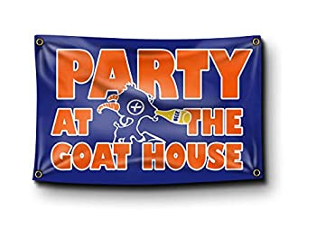 Party at The Goat House BMS Blue Mountain State Funny College Dorm Flag Banner Tapestry Poster Meme 3x5 Feet