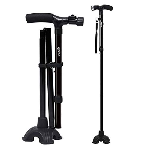 Walking Cane, Self Standing Folding Walking Cane Lightweight Walking Stick with LED Light and Cushio - http://coolthings.us
