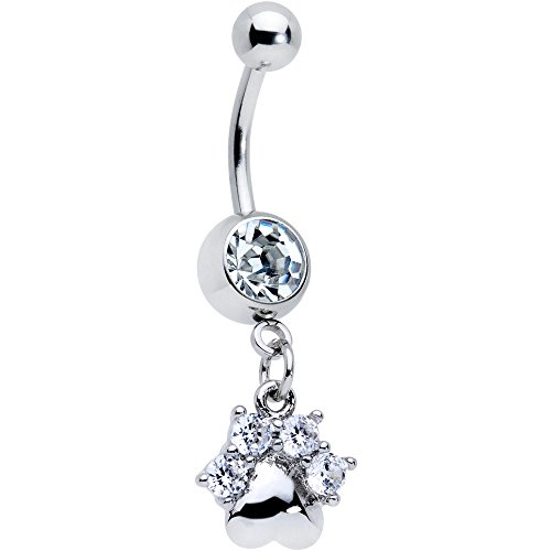 Body Candy Steel Clear Accent Puppy Paw Dangle Belly Ring