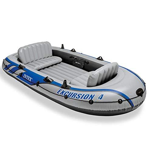 Huangxiaofang Gommone Explorer Aumento dell'ispessimento Grey Drifter Gommone for Quattro Persone Barca da Pesca a Remi in Gomma for 4 Persone (Colore : Grigio, Dimensione : 315×165×43CM)
