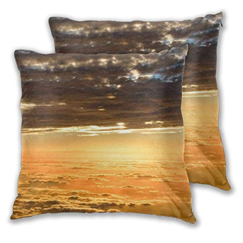erjing Pack of 2 Soft Decorative Square Throw Pillow Covers, Sky Sunset Wallpaper Cushion Cases Pillowcases for Sofa Bedroom Car,20 x 20 Inch