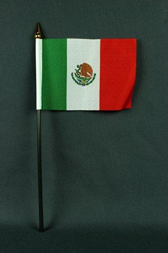 Buddel-Bini Kleine Tischflagge Mexiko 15x10 cm mit 30 cm Mast aus PVC-Rohr, ohne Ständerfuß