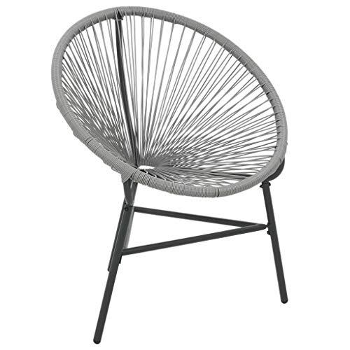 vidaXL Gartenstuhl Poly Rattan Grau Gartensessel Stuhl Sessel Outdoorstuhl
