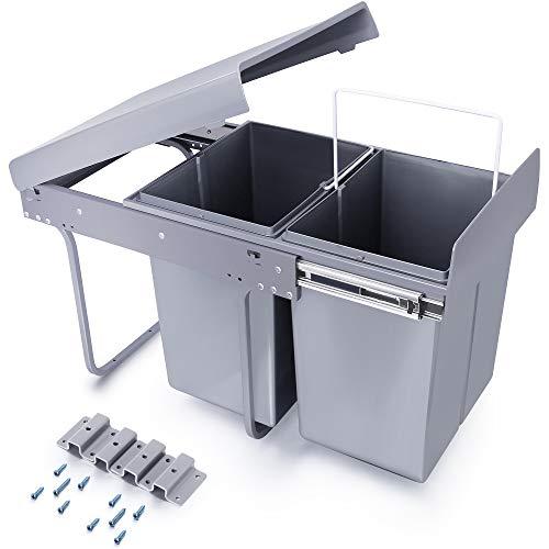 Homewit 40L versteckter Mülleimer, W340* D490* H430 mm ausziehbarer metaller Küchenabfalleimer, 2 Abfalleimer für Mülltrennsysteme, 20L+20L Einbaumülleimer, Deckelheber, Bodenmontage, Für Küche