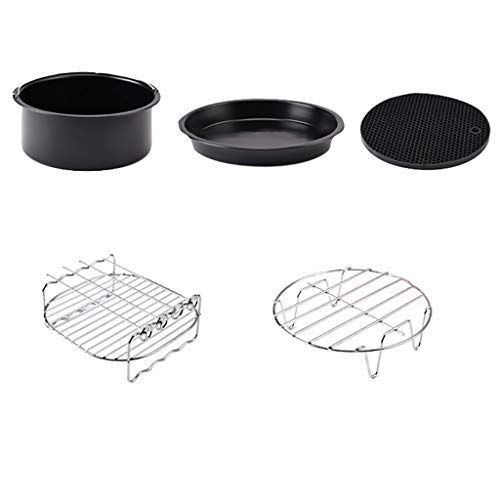 Kitchen & Dining, iuuhome 5PC 7-inch air fryer accessories Air Frying Pan Accessories 5pcs Fryer Baking Basket Pizza Plate Grill Pot Mat