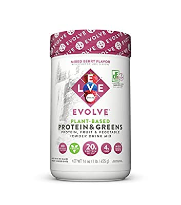 Evolve Plant Based Protein and Greens Powder, Mixed Berry, 20g Protein, 1 Pound