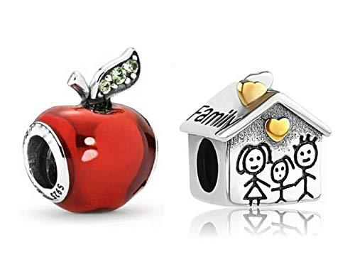 Marni's - Dos Charms originales Plata de ley compatibles con Pandora. Casa familiar y manzana roja en plata de ley . Regalos para tu madre originales cumpleaños. Para pulseras dia de la madre