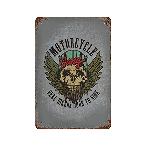 Lawenp Wall Decoration Iron Plate Hanging Picture Motorcycle Gang Poster Vintage Home Decor for Yard House Garage Home Pub Shop Funny Retro Wall Art Sign W8xH12 Inch (20x30cm)