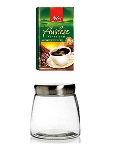 James Premium Kaffeedose Vorratsdose Edelstahlddeckel mit Löffel, für Kaffeebohnen + Melitta Auslese klassisch 500gr