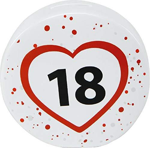 Home Collection Spardose 18 Geburtstag Happy Birthday 13,7x13,5x4cm weiß-rot