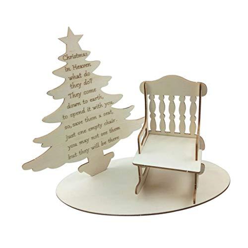 kowaku Silla Mecedora de Madera Juego de árbol de Navidad en Miniatura de Madera Decoración Navideña