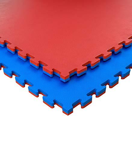 JOWY Lote 9 Unidades Esterilla Goma Espuma Tatami Puzzle | Tatami Suelo para Gimnasio Ideal Artes Marciales 1m x 1m x 2 cm Rojo/Azul