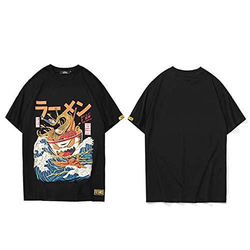 Japanisches Harajuku T-Shirt Herren Sommer Hip Hop Nudel Schiff Cartoon Streetwear Kurzarm Casual Top Baumwolle Black XL