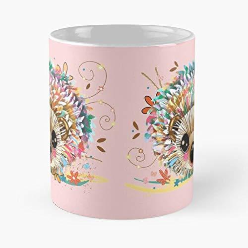 Taza de café de cerámica con diseño de erizo de arco iris, color rosa