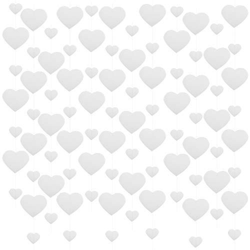 VINFUTUR 6pcs Guirnalda Corazones Papel Banner Corazón Blanco para San Valentín Bandera Colgante Corazones Papel para Fiesta Boda-2m/pcs