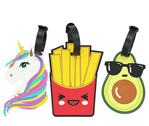 ShineSnow Cute Unicorn Luggage Tags Silicone Bag Suitcase ID Labels Set of 3