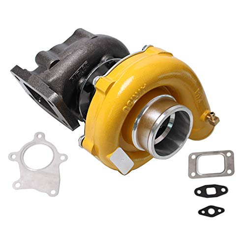 Hybrid T3/T4 Turbo T3 T4 T04E Turbocharger 0.63 A/R 5 Bolt 400+HP Boost Stage 7psi-21psi Oil Cooled TO4E Turbo Charger Racing+ Gaskets Yellow Finish