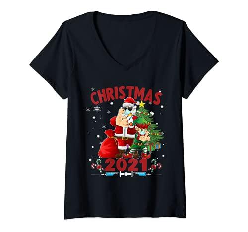 Mujer Santa y Elfo Vacunados - Nueva Navidad Camiseta Cuello V