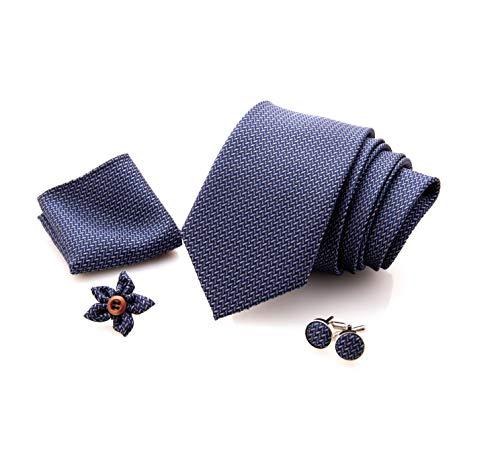 First Impact - Cravatta uomo + Gemelli camicia uomo + Pochette uomo + Spilla Giacca uomo (Set cravatta uomo 4 pz) Confezione regalo uomo, Idea regalo uomo (Blu spigato grigio)