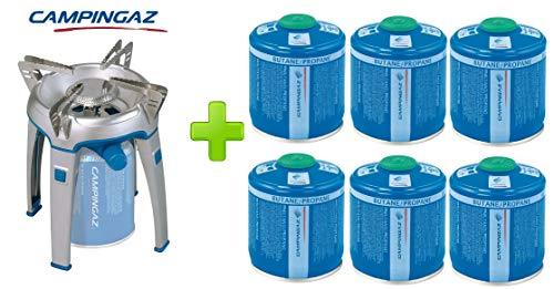 ALTIGASI Réchaud à gaz Bivouac Campingaz Puissance 2600 W avec Sac de Transport - Système de Cartouche Amovible + 6 Cartouches à gaz CV300 de 240 g