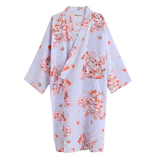 ECHERY Damen Mädchen Sommer-Kimono Aus Baumwolle Roben Floral Pyjamas Nachtwäsche Khan Gedämpft Yukata-Bademantel Blau Katze