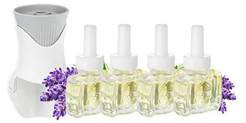 (4 Pack) 100% Natural Lavender Essential Oil Plug in Refills Air Freshener AND (1) Air Wick® PlugIn Warmer