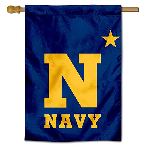 """College Flags & Banners Co. Navy Midshipmen N-Star 28"""" x 40"""" Two Sided House Flag"""