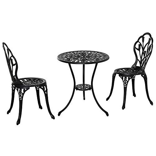 Outsunny Sitzgruppe 3-teilige Essgruppe Gartenmöbel-Set 1 Tisch+2 Stühle mit Schirmloch Terrasse Aluminium Schwarz Ø60 x 67H cm