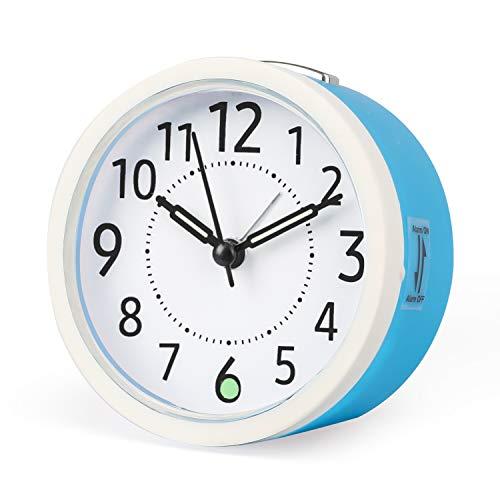 Sveglie silenziose Orologi da tavolo alimentati a batteria senza ticchettio da comodino Ampio display luminoso Funzione snooze per camera da letto Ufficio [Classe energetica A +++] (Blu&Bianco)