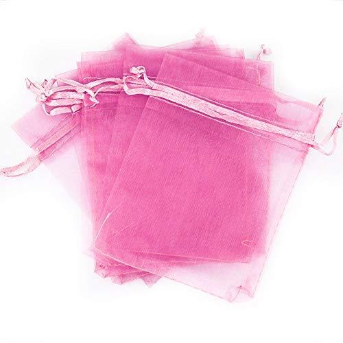 Pure Color Organza Party Favor Bags Kordelzug Beutel Samtbeutel für Hochzeit Baby Dusche Gastgeschenke Mesh Geschenk Beutel Schmuck Süßigkeiten Beutel rose