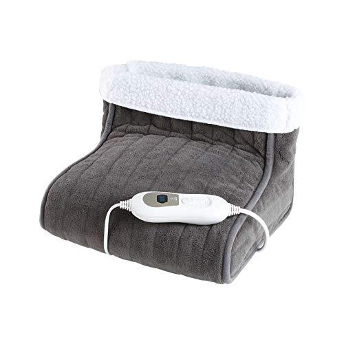 Elektrischer Fußwärmer Fußsack Elektrisch 3 Stufen Wärmekissen für Füße (Abschaltautomatik, Überhitzungsschutz, Heizkissen, Grau)