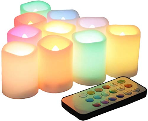 10 PCS Colored Flameless Flickering Remote Control Led Votive Tea Light Timer Candles Color Changing Battery Operated LED Fake Candle for Wedding Party Halloween Pumpkin Light Christmas Decorations