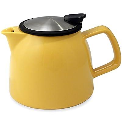 FORLIFE Bell Ceramic Teapot with Basket Infuser, 26-Ounce/770ml, Mandarin
