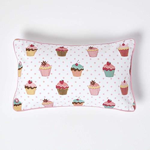 Homescapes Kissenbezug mit Cupcakes-Muster, dekorative Kissenhülle 30 x 50 cm für Zierkissen & Kinderkissen aus 100prozent Baumwolle mit Reißverschluss, rosa, Muffin-Aufdruck