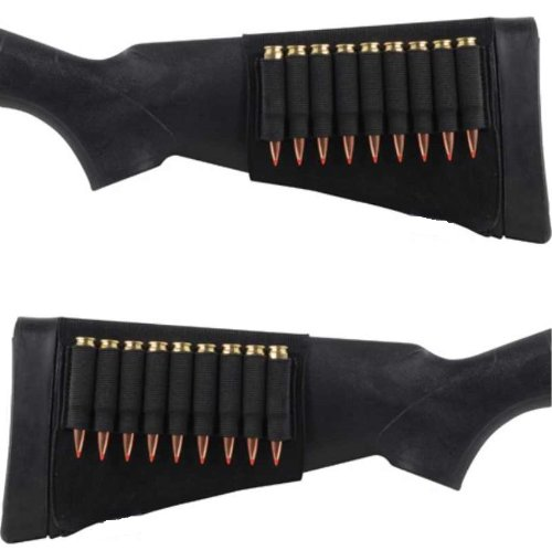 Ultimate Arms Gear Tactical Stealth Black 18 Round Rifle Ammo Shot Shell Cartridge Hunting Stock Buttstock Slip Over Carrier Holder Fits .300 .308 308 .270 .30-06 7mm Remington 700 770 M24 Ambidextrous Use for Both Righty and Lefty Shooters Universal Bolt Lever Pump Action Sniper Hunting Rifle