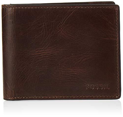 Fossil Men's Derrick Leather RFID-Blocking Bifold with Flip ID Wallet, Dark Brown