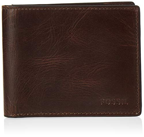 Fossil Men's Derrick Leather RFID blocking Bifold Wallet, Dark Brown