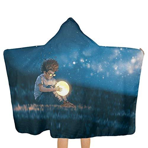 Sdltkhy Escena Nocturna Niño pequeño con una Luna pequeña 81x130cm Toalla de baño Toalla de Playa con Capucha Patrón de Personalidad Unisex Adecuado para el hogar Playa Piscina Viaje