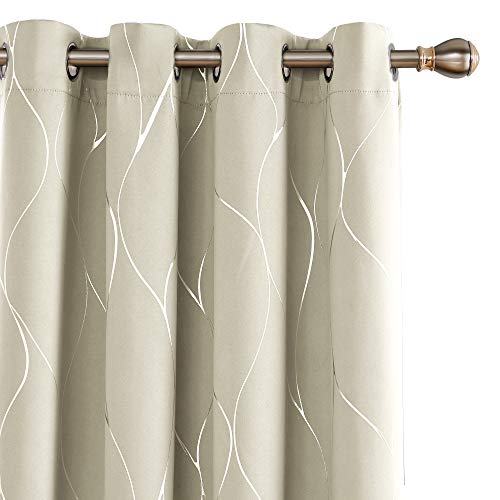 Deconovo Wave Printed Thermal Insulated Blackout Curtains Room Darkening Energy Efficient Panel Grommet Drapes for Bedroom 52W x 96L Inch 2 Panels Light Beige