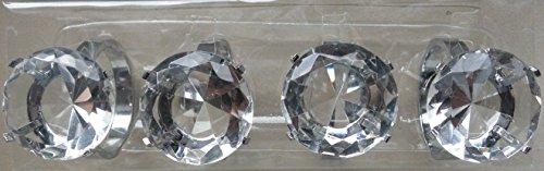 Unbekannt 4 Stück (1 Set) Servietten Ringe Serviettenhalter Serviettenring Glas Glasdiamant Kristall Tischdekoration