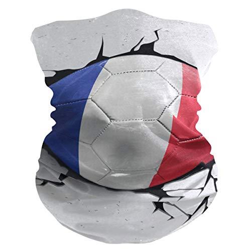 LZXO - Bandana con diseño de fútbol de Francia en 3D, sin costuras, para exteriores, pasamontañas, protector de cuello, bufanda, para protección contra el polvo, el viento y el sol