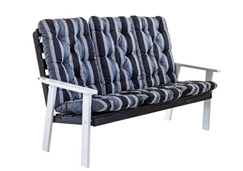 Ambientehome 90337 3-er Bank Gartenbank Holzbank Loungebank Massivholz Hanko Maxi grauweiß mit Kissen, schwarz / grau