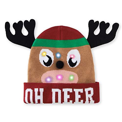 Belovecol Herren Weihnachtsmützen LED Mütze Strickmütze Mit Hörnern Weihnachten Neuheit Leuchten Unisex Teen Winter Warme Pudelmütze