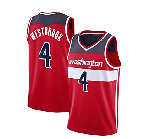 rzoizwko Camisetas de la NBA de Baloncesto, Camiseta de la NBA Washington Wizards 4# Russell Westbrook, Chaleco de Baloncesto Suelto de Secado rápido para Gimnasio